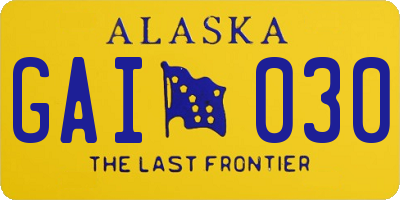 AK license plate GAI030