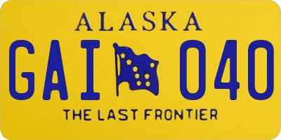 AK license plate GAI040