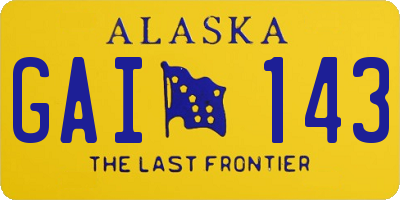 AK license plate GAI143