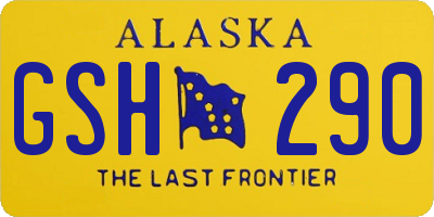 AK license plate GSH290