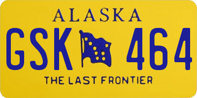 AK license plate GSK464
