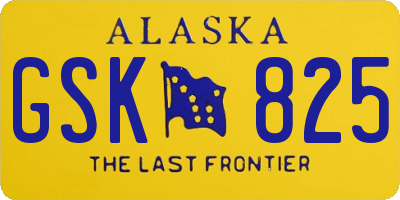 AK license plate GSK825