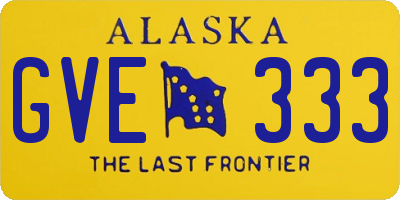 AK license plate GVE333