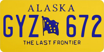 AK license plate GYZ672