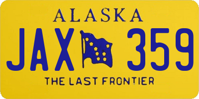 AK license plate JAX359