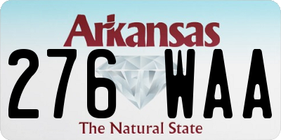 AR license plate 276WAA