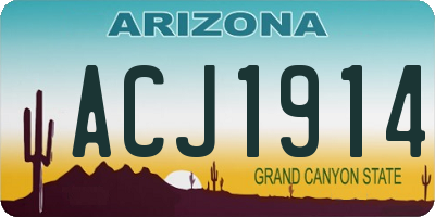 AZ license plate ACJ1914