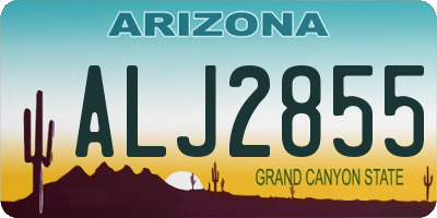 AZ license plate ALJ2855
