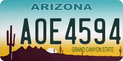 AZ license plate AOE4594