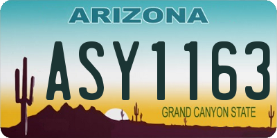 AZ license plate ASY1163