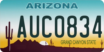 AZ license plate AUC0834