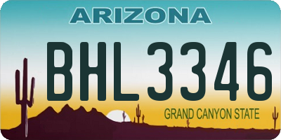 AZ license plate BHL3346