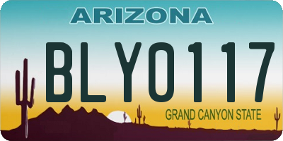 AZ license plate BLY0117
