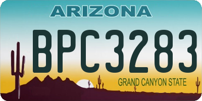 AZ license plate BPC3283