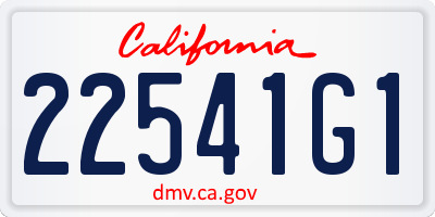 CA license plate 22541G1