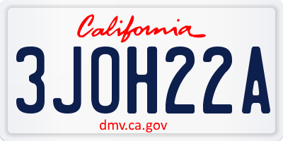 CA license plate 3JOH22A