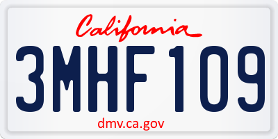 CA license plate 3MHF109
