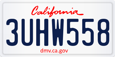 CA license plate 3UHW558