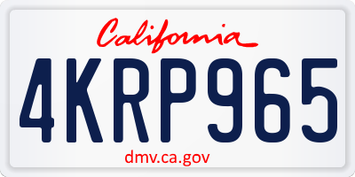 CA license plate 4KRP965