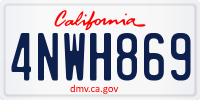 CA license plate 4NWH869