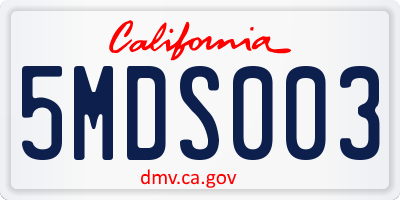 CA license plate 5MDS003
