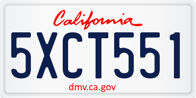 CA license plate 5XCT551