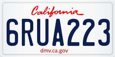 CA license plate 6RUA223