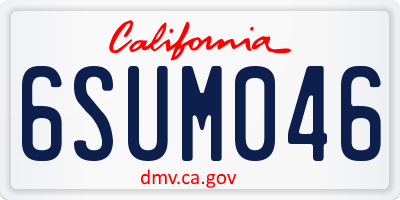 CA license plate 6SUM046