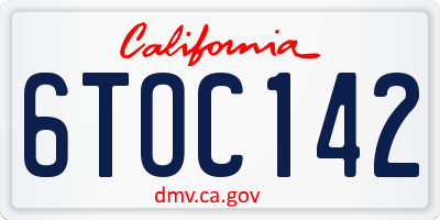 CA license plate 6TOC142