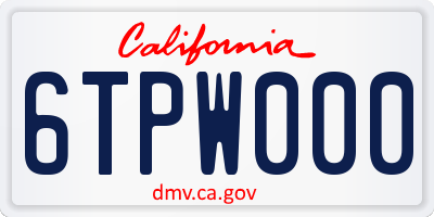 CA license plate 6TPW000
