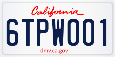 CA license plate 6TPW001