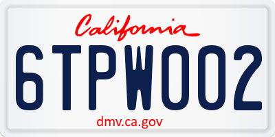 CA license plate 6TPW002