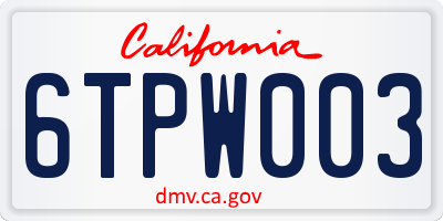CA license plate 6TPW003