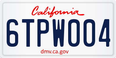 CA license plate 6TPW004
