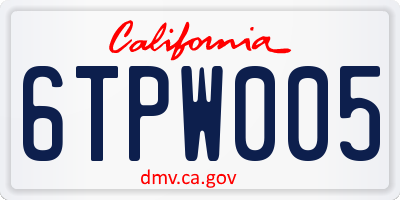CA license plate 6TPW005