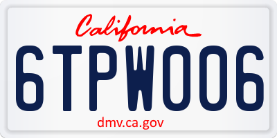 CA license plate 6TPW006