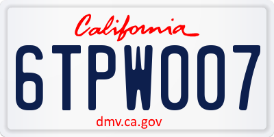 CA license plate 6TPW007