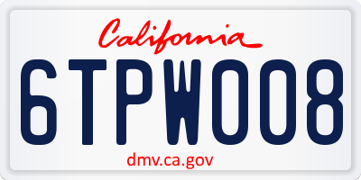 CA license plate 6TPW008