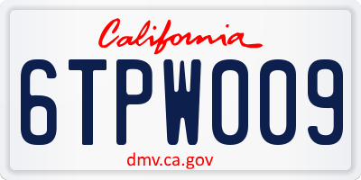CA license plate 6TPW009