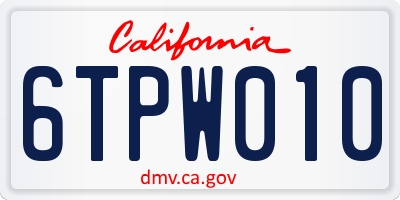 CA license plate 6TPW010