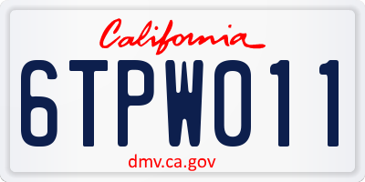 CA license plate 6TPW011