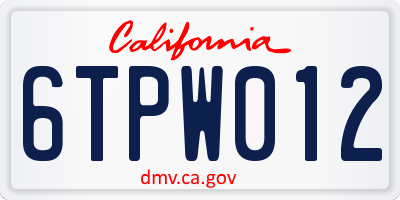 CA license plate 6TPW012
