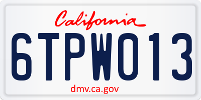 CA license plate 6TPW013