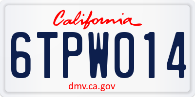 CA license plate 6TPW014