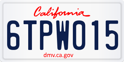 CA license plate 6TPW015