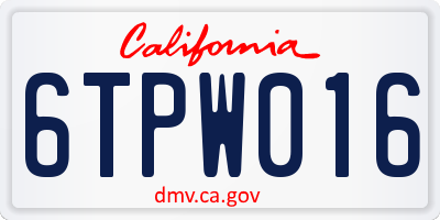 CA license plate 6TPW016