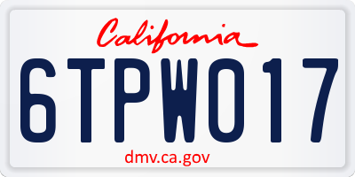 CA license plate 6TPW017