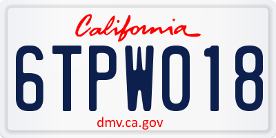CA license plate 6TPW018