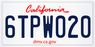 CA license plate 6TPW020