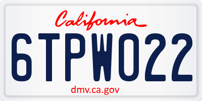 CA license plate 6TPW022